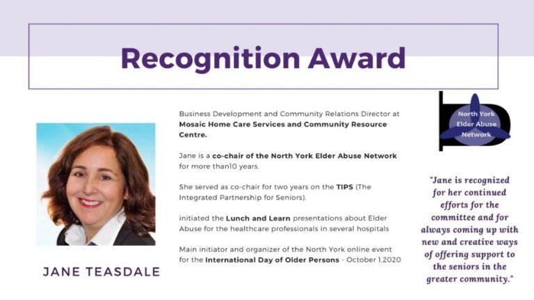 North York Elder Abuse Network (NYEAN) Award